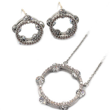 elegant tambourine crystal necklace earrings silver set