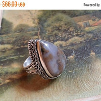 SUMMER FLASH Sale 65% Off Agate Size 7 3/4 Ring Gemstone. 925 Sterling  Silver Mothers Day Sale