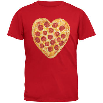 Pepperoni Pizza Heart Red Adult T-Shirt