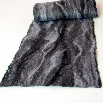 "Felted scarves Felt scarf scarves Wet felted scarf Unisex scarves Extra long scarf Grey and black scarf soft wool Merino wool61.0""/11.8"""