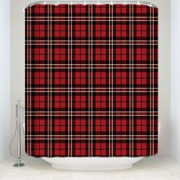 Scottish Red Plaid Pattern Shower Curtains Hooks Included