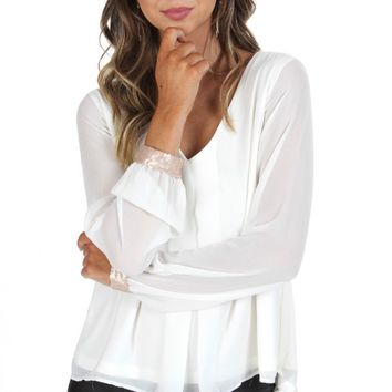 Sequin Cuff Blouse Ivory