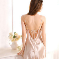 New Lace Backless Lingerie sexy silk pajamas female summer lingerie tracksuit thin straps