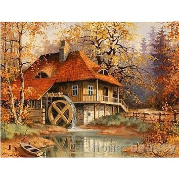 Diy digital oil painting by number paint drawing coloring by number canvas hand painted picture wall decor landscape cabin E095