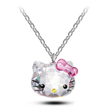 Stainless Steel Chain SWA ELEMENTS Hello Kitty Necklace