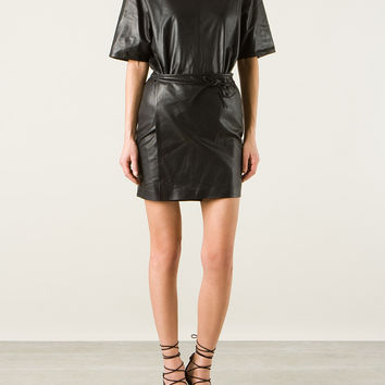 ISABEL MARANT FALCO BLACK LEATHER WRAP UP MINI DRESS