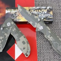 Digital Camo Tactical Military Pocket Folding Knife with Box, Sharp