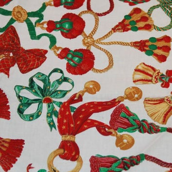 Concord Fabrics Inc. by Sharon Kessler Christmas Holiday Tassels, Bows and Bells Fabric, Vibrant Golds, Greens and Reds, Regal Tassels