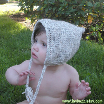Crochet Pixie Baby Bonnet, Elf Hat, infants 12-18 months, ready to ship.