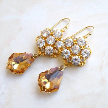 Bridal Earrings Swarovski Teardrop Cubic Zirconia CZ Gold Filled Chandelier Arwen E2Gold Wedding Jewelry