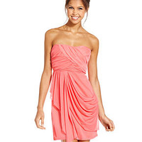 Sequin Hearts Juniors Dress, Strapless Sweetheart Draped - Juniors Dresses - Macy's