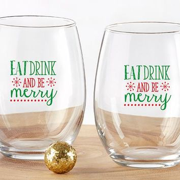Eat Drink Be Merry 15 oz. Stemless Wine Glass (Set of 4)