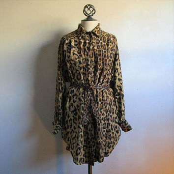 1980s LIPTONS Silk Blouse Vintage Tiger Animal Print Brown Black 80s Oversized Designer Shirt Medium