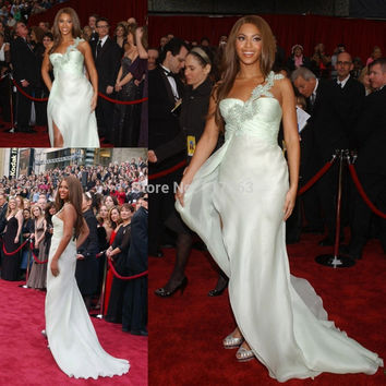 Beyonce Red Carpet Inspired One Shoulder Long Chiffon Dress