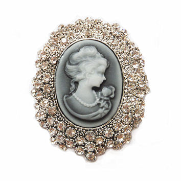 Retail!Clear Austria Crystal Rhinestone Vintage Style Fashion Victorian Style Cameo Brooch Lady Scarf Brooch Pins Hot Selling