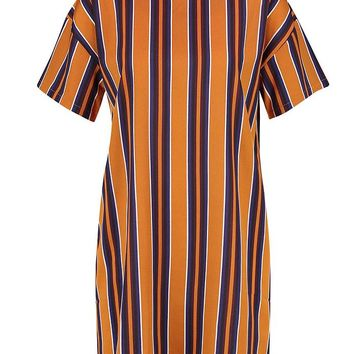 Tonal Stripe Short Sleeved Shift Dress | Boohoo