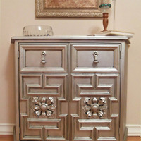 Hollywood Regency Painted Vintage / Modern Silver Gray Buffet or Entry Table / Console / Mini Bar