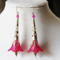 Pink and Silver Long Flower Earrings - Pink Lucite Flowers with Purple Crystals and Silver Bead Caps with Silver Filigree Cones