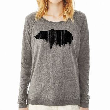 Relaxed Fit Pullover Sweatshirt - Grizzly Bear Treeline