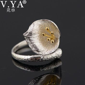 V.YA Vintage Style Lily Floral Rings For Women Pure 925 Sterling Silver Flower Open Ring Jewelry Accessories High Quality