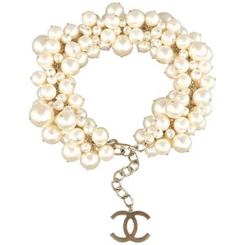 CHANEL Cream & Light Gold Pearl Cluster Chain Spring 2013 Necklace