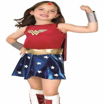 Child's Wonder Woman Costume Deluxe Toddler Girl's Super SHIRT Heroes Cosplay Outfit Fancy Dress Halloween Costumes for Kids