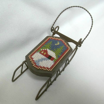 Sled Christmas Ornament / Cross Stitched Snow Scene / Winter Ornament / House In Snow