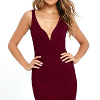Kiss Me Slowly Wine Red Lace Bodycon Dress