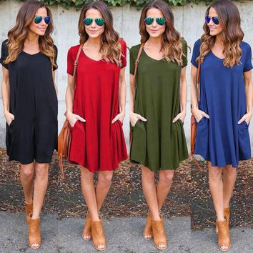 Solid Color Casual Short Sleeve Dresses