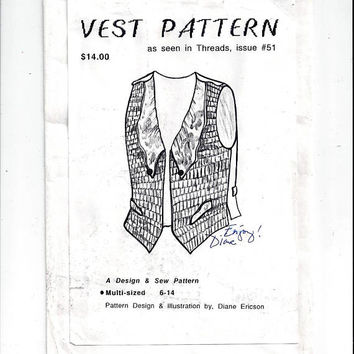 1990s Pattern for Misses' Pin Woven Vest, Design by Diane Ericson UNCUT, Sizes 6 to 14, Vintage Pattern, Home Sewing, 1990s Fashion, Threads
