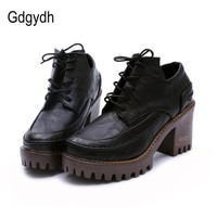 Gdgydh 2017 Spring British Style Female Single Shoes Round Toe Platform Casual Women S