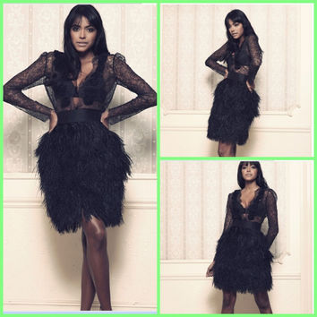 2015 little black feather a line long sleeve cocktail dresses deep v neckline flower stylish sexy cocktail gown