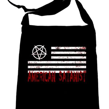 American Satanist Bloody Flag Pentagram Sling Bag Tote Hail Satan Occult Clothing Book Bag