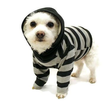 Dog Hoodie Dog Clothes Gray and Black Striped Dog Hoodie pet clothing dog clothing pet clothes dog shirt dog sweater