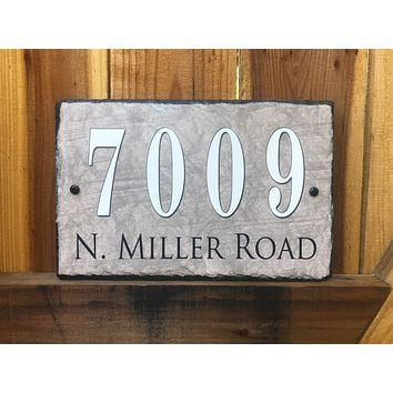 Customizable Slate Home Address House Sign - Beige - Handmade and Personalized