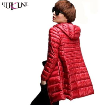 HIJKLNL Fashion Down Parka Women Down Jacket Winter Jacket Women 90% Duck Down Outwear Lady Parka Long Elegant Outwear YX8007B