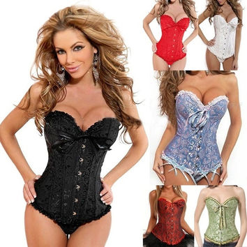 fantasy shop Hot Plus Size Black Sleepwear Sexy Women Lace Tops Steel Bustier Lingerie Overbust Corset Dresses 9 SIZES S - 6XL = 1958399236