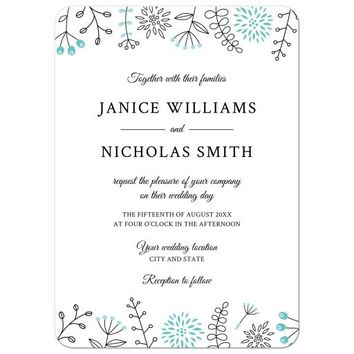 Modern wedding invitation with nature and flower doodle border - aqua blue