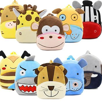 2017 Plush Children Backpacks Kindergarten Schoolbag 3D Cartoon Monkey Animal Kids Backpack Children School Bags for Girls Boys
