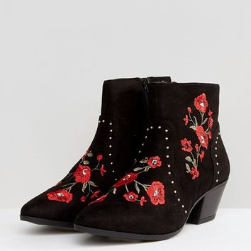 New Look Festival Rose Embroidered Ankle Boots at asos.com
