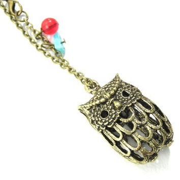 Hollow Owl Necklace Vintage Beaded Wildlife Gold Tone NI36 Bird Cage Pendant Retro Indie