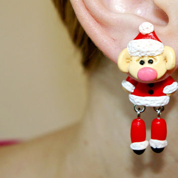 Christmas red Elf dangling earrings,Holiday fake gauge,Xmas Santas Helpers,child clinging gift,front back,Unique faux gauge,unusual elves