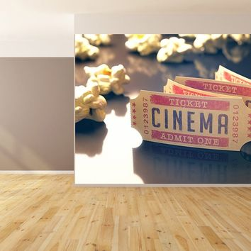 Movie Cinema Tickets Popcorn Custom Wallpaper