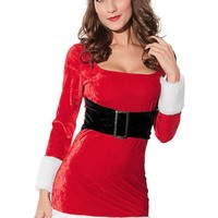 DCCKWQA 2016 Winter Women Party Club Red Christmas Costumes Sexy Hot 2pcs Mrs Santa Claus Dress Costume  Adult  New Year Clothes LC7219