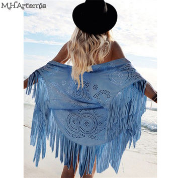 Boho chic Kimono Design Faux Suede Shawl laser cut out Floral Asymmetric Tassel Kimono Beach Summer Style Cover-up