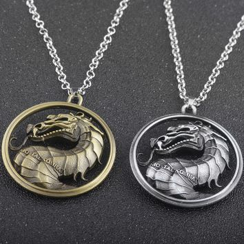 2 Colours High Quality Alloy Game of Thrones Series Mortal Kombat Necklace Dragon Vintage Pendant Necklaces Movie Jewelry