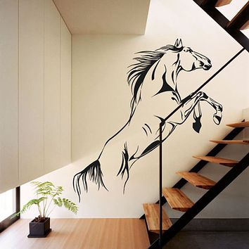 New Black Running Horse Wall Sticker Removable Vinyl Decal Art Mural Jumping Horse Wall Stickers Home Decor