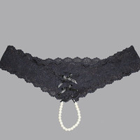 Cheeky Lace Pearl String G-String