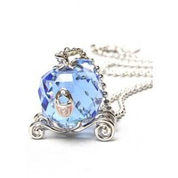 Disney Couture Icon Cinderella Silver & Crystal Carriage Necklace  at Zentosa