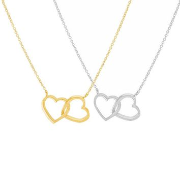 Love Double Heart Necklace Ladie FOREVER LOVE Jewelry Valentine's Day Gift
